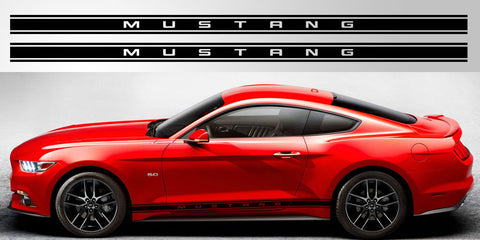 Mustang lettered triple stripe decal