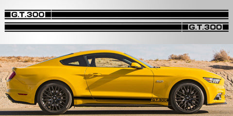 Mustang GT 300 Triple Stripe vinyl decal graphic