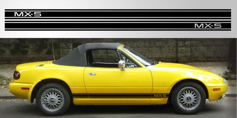 Mazda Miata MX-5 Eunos Roadster triple stripe vinyl decal graphic