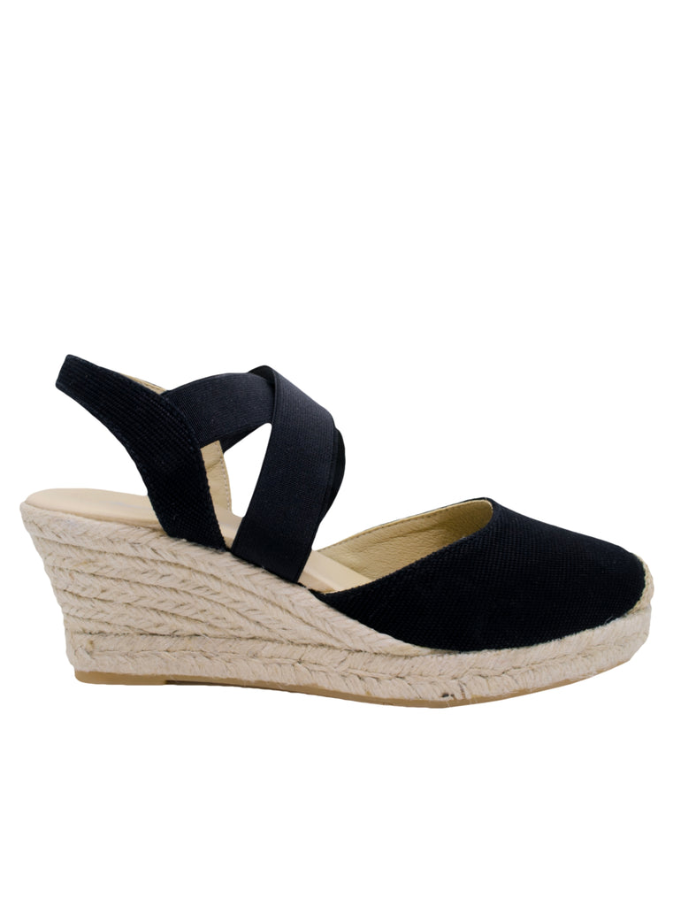 Espadrilles Women-Espadrilles Black Strap Wedge by Ethical & Sustainable Fashion Brand Mamahuhu