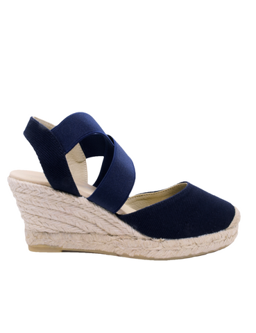 Espadrilles Women-Espadrilles Navy Strap Wedge by Ethical & Sustainable Fashion Brand Mamahuhu