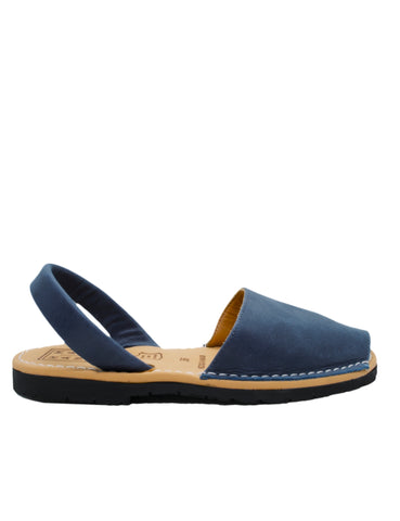 Leather Sandal-Menorquina Navy Blue Flat by Ethical & Sustainable Fashion Brand Mamahuhu