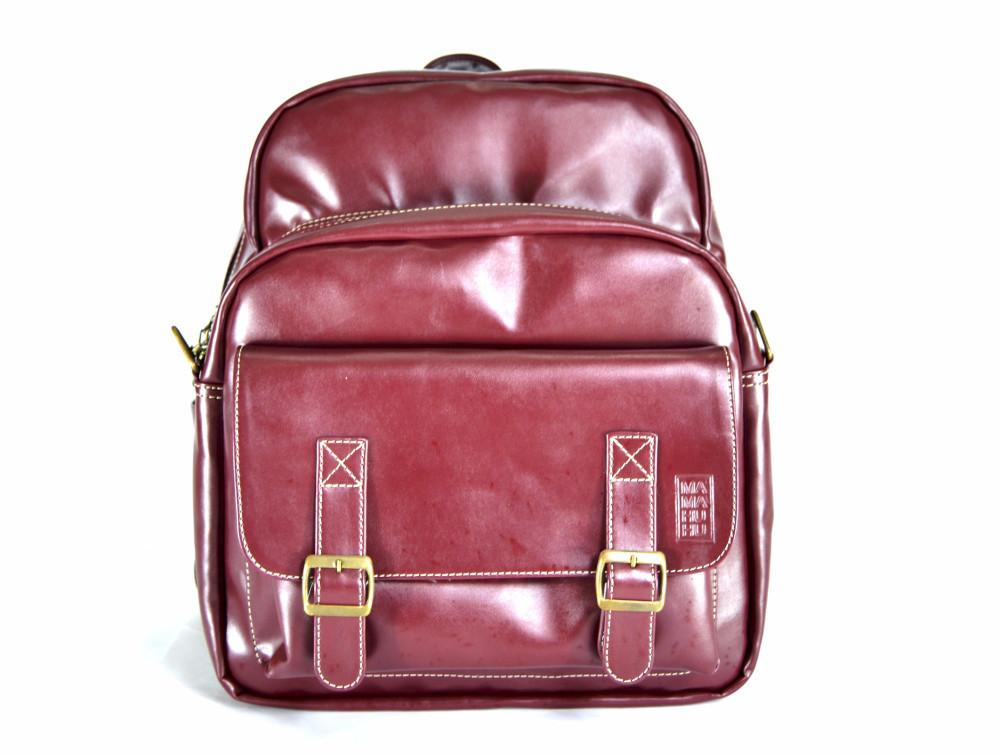 Faux leather bag-Traveller Backpack Wine by Ethical & Sustainable Fashion Brand Mamahuhu