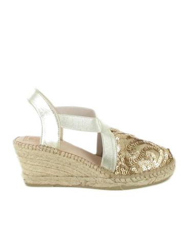 Espadrilles Women-Espadrilles Gold Sequins by Ethical & Sustainable Fashion Brand Mamahuhu
