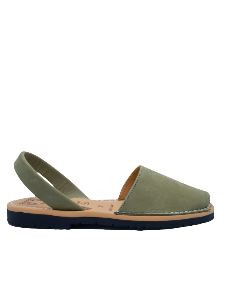 Leather Sandal-Menorquina Olive Flat by Ethical & Sustainable Fashion Brand Mamahuhu