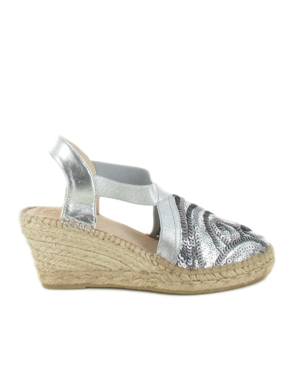 Espadrilles Women-Espadrilles Silver Sequins by Ethical & Sustainable Fashion Brand Mamahuhu