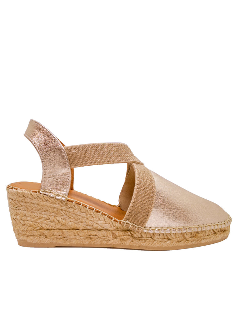 Espadrilles Women-Espadrilles Tossa Gold Leather by Ethical & Sustainable Fashion Brand Mamahuhu