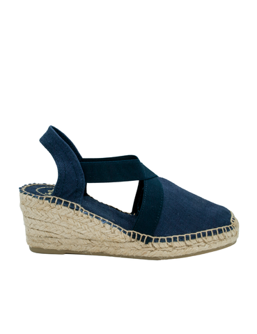 Espadrilles Women-Espadrilles Wedge Navy by Ethical & Sustainable Fashion Brand Mamahuhu
