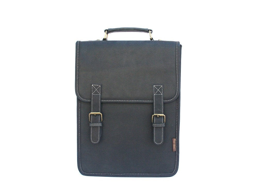Fullgrain leather bag-Vertical Executive Night by Ethical & Sustainable Fashion Brand Mamahuhu