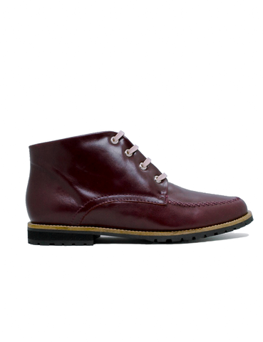 Leather ankle boots-Colorines Wine by Ethical & Sustainable Fashion Brand Mamahuhu
