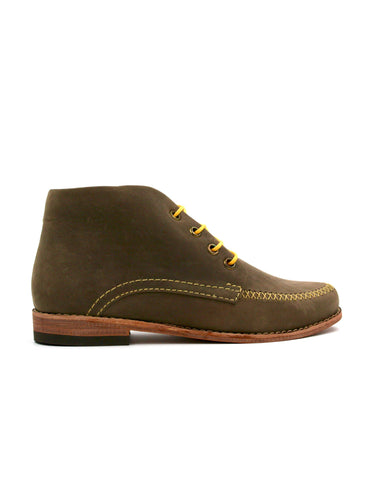 Leather ankle boots-Colorines Olive Premium by Ethical & Sustainable Fashion Brand Mamahuhu