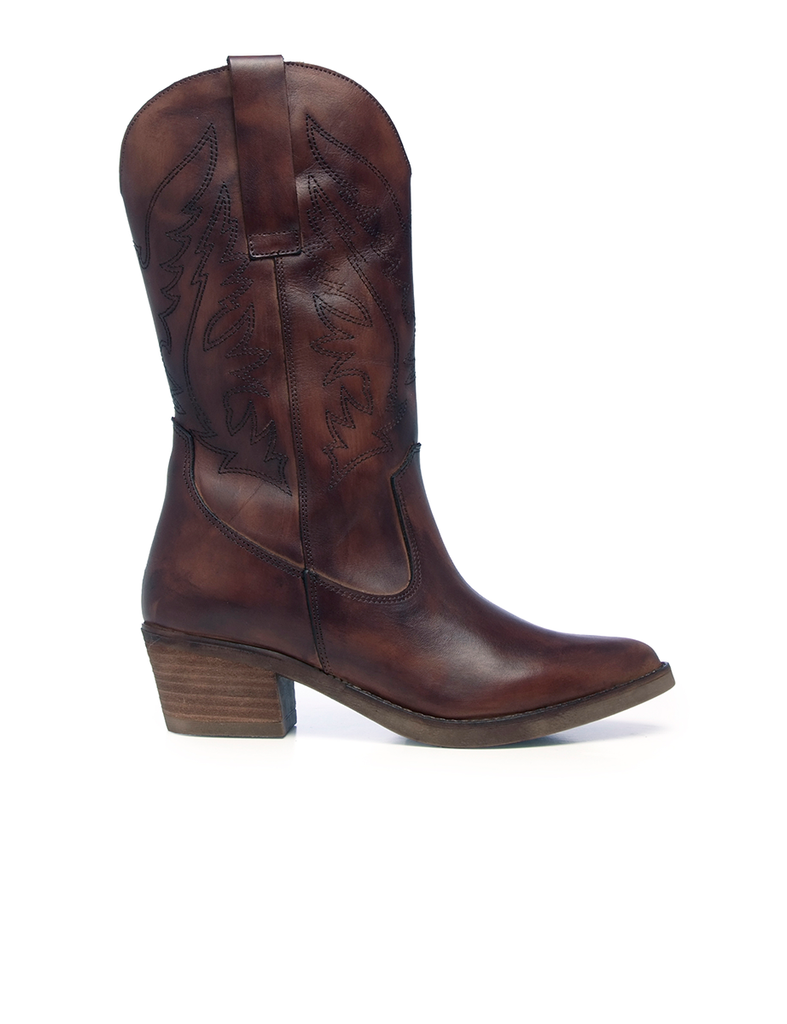 Leather Women-Chestnut Texan Leather Boots by Ethical & Sustainable Fashion Brand Mamahuhu