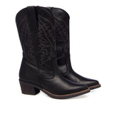 Leather Women-Dark Night Texan Leather Boots by Ethical & Sustainable Fashion Brand Mamahuhu
