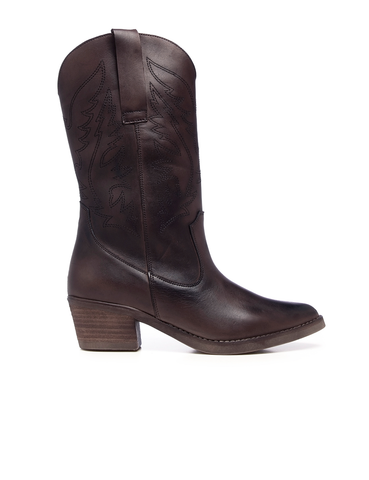 Leather Women-Chocolate Texan Leather Boots by Ethical & Sustainable Fashion Brand Mamahuhu
