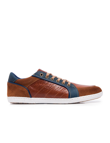 Leather Men-Chestnut Leather Sneakers by Ethical & Sustainable Fashion Brand Mamahuhu