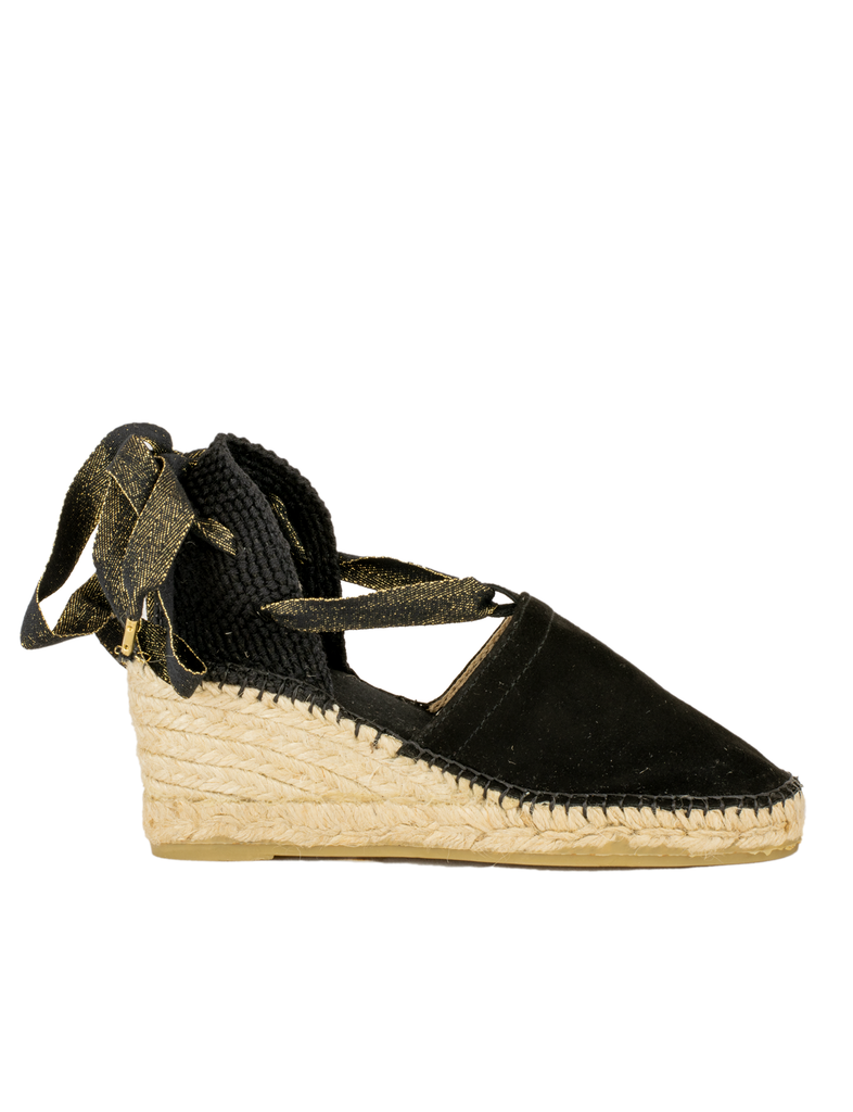 Espadrilles Black Leather Valencia