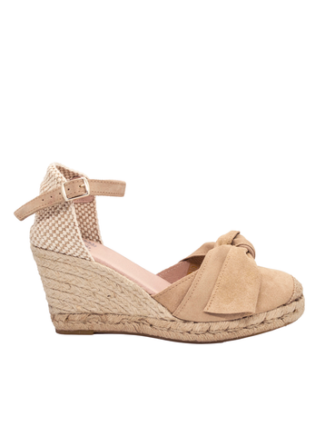 Espadrilles Women-Espadrilles Tan Leather Bow by Ethical & Sustainable Fashion Brand Mamahuhu