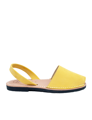 Leather Sandal-Menorquina Yellow Flat by Ethical & Sustainable Fashion Brand Mamahuhu