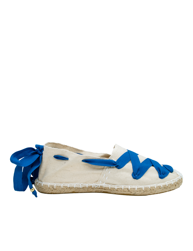 Espadrilles Women-Catalan Blue-Cream Traditional by Ethical & Sustainable Fashion Brand Mamahuhu
