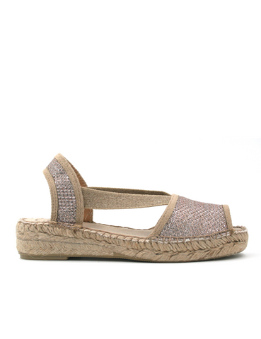 Espadrilles Women-Espadrilles Strap Sandal Champagne by Ethical & Sustainable Fashion Brand Mamahuhu