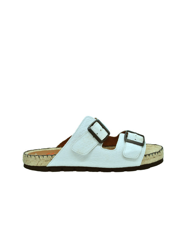 Espadrilles Men-Sandals White Leather Summer by Ethical & Sustainable Fashion Brand Mamahuhu