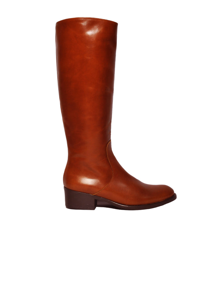 Leather boots-Brown Leather Knee-High Boots by Ethical & Sustainable Fashion Brand Mamahuhu
