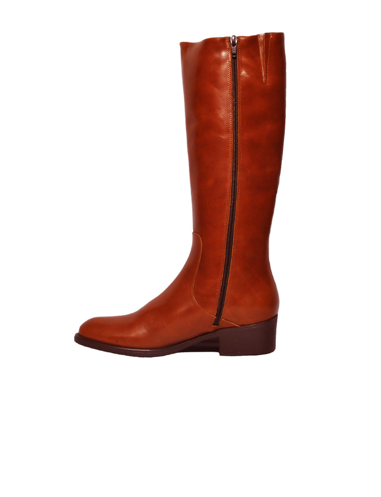 Brown Leather Knee-High Boots - HANDMADE®