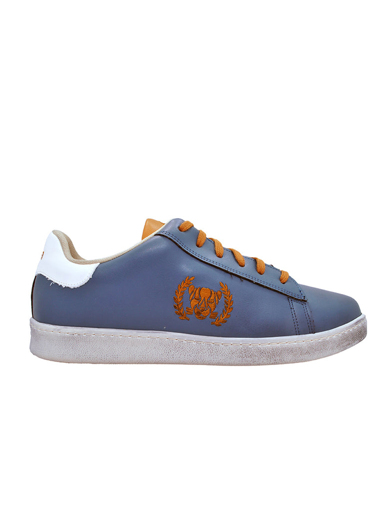 Leather Men-Ethical Sneakers Metallic Blue by Ethical & Sustainable Fashion Brand Mamahuhu