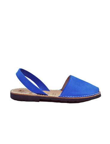Leather Sandal-Menorquina Blue Flat by Ethical & Sustainable Fashion Brand Mamahuhu