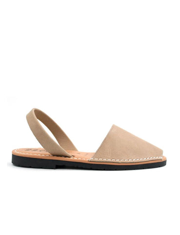 Leather Sandal-Menorquina Cream Flat by Ethical & Sustainable Fashion Brand Mamahuhu