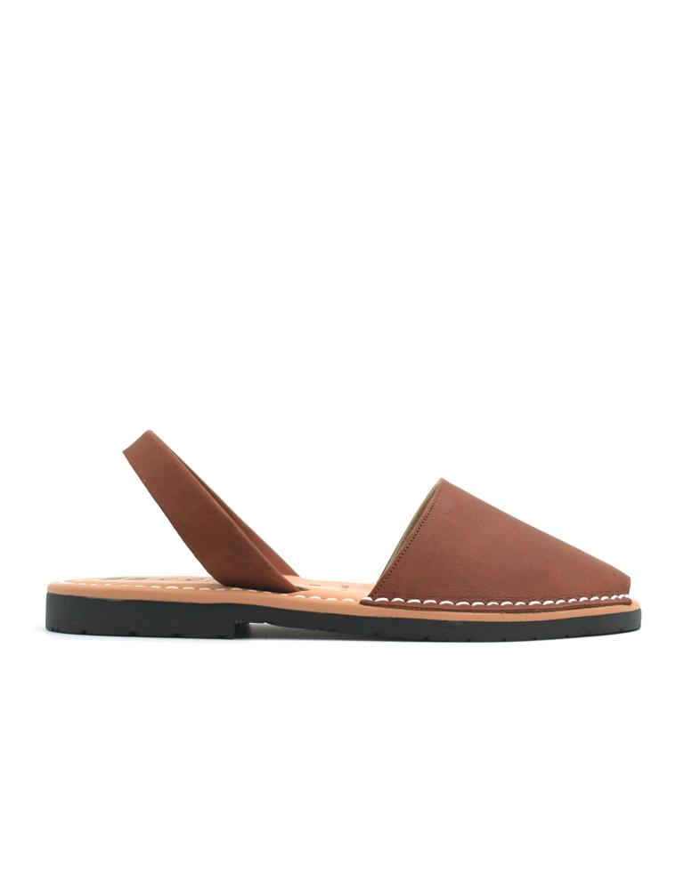 Leather Sandal-Menorquina Chocolate Flat by Ethical & Sustainable Fashion Brand Mamahuhu