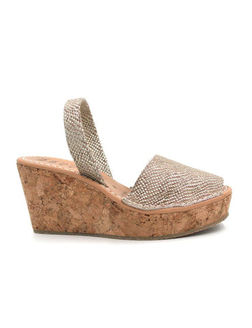 -Menorquina Champagne Wedge by Ethical & Sustainable Fashion Brand Mamahuhu
