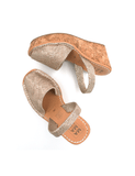 Leather Sandal-Menorquina Champagne Wedge by Ethical & Sustainable Fashion Brand Mamahuhu