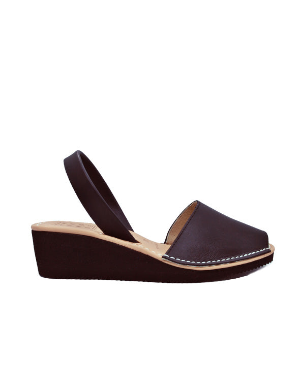 Leather Sandal-Menorquina Black Night Heel by Ethical & Sustainable Fashion Brand Mamahuhu
