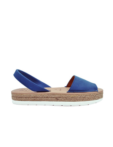 Leather Sandal-Menorquina Blue Suede Platform by Ethical & Sustainable Fashion Brand Mamahuhu