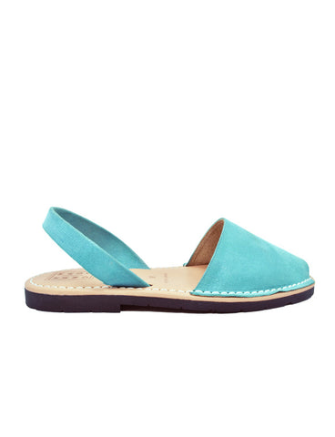 Leather Sandal-Menorquina Mint Green Flat by Ethical & Sustainable Fashion Brand Mamahuhu