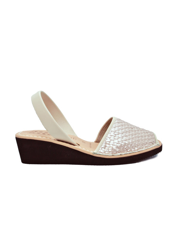 Leather Sandal-Menorquina Platinum Braid Heel by Ethical & Sustainable Fashion Brand Mamahuhu