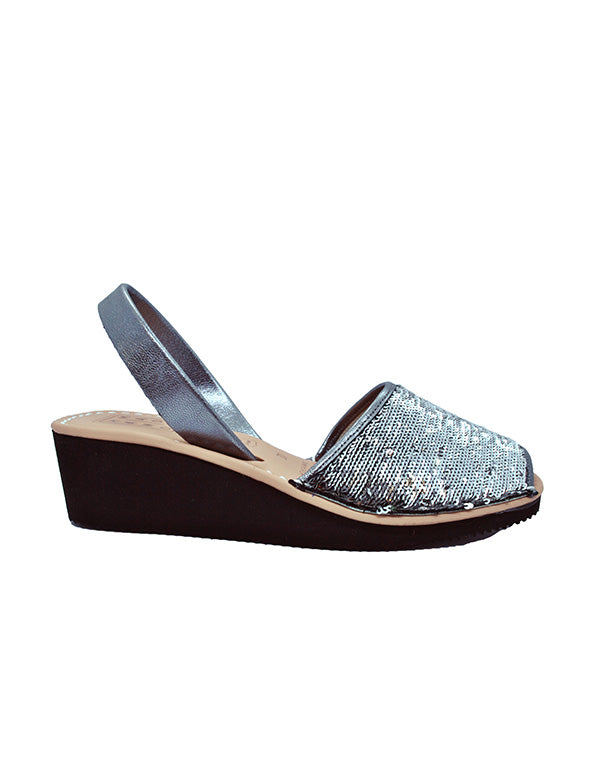 Leather Sandal-Menorquina Silver Sequence Heel by Ethical & Sustainable Fashion Brand Mamahuhu