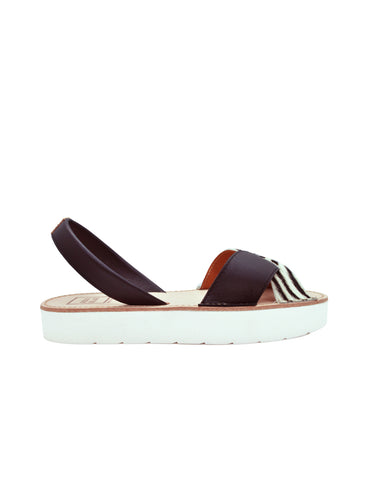 Leather Sandal-Menorquina Zebra Platform by Ethical & Sustainable Fashion Brand Mamahuhu