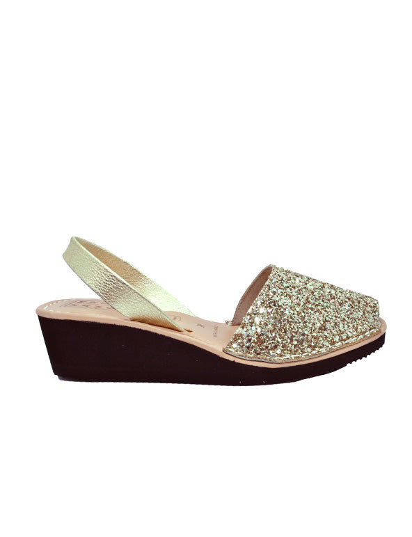 Leather Sandal-Menorquina Sparkly Gold Heel by Ethical & Sustainable Fashion Brand Mamahuhu