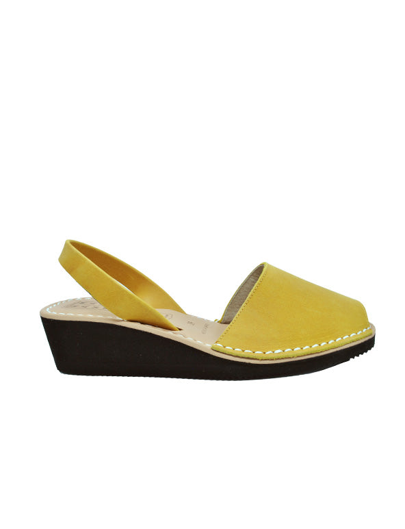 Leather Sandal-Menorquina Wax Safron Heel by Ethical & Sustainable Fashion Brand Mamahuhu