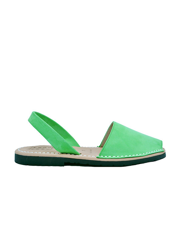 Leather Sandal-Menorquina Apple Green Flat by Ethical & Sustainable Fashion Brand Mamahuhu