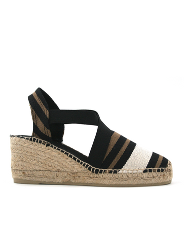 Espadrilles Women-Espadrilles Wedge Zebra Dark by Ethical & Sustainable Fashion Brand Mamahuhu