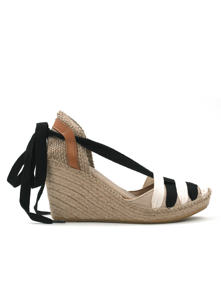 Espadrilles Women-Espadrilles Wedge Night Snow Ribbon by Ethical & Sustainable Fashion Brand Mamahuhu
