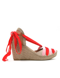 Espadrilles Women-Espadrilles Wedge Ribbon Raspberry Rosé by Ethical & Sustainable Fashion Brand Mamahuhu