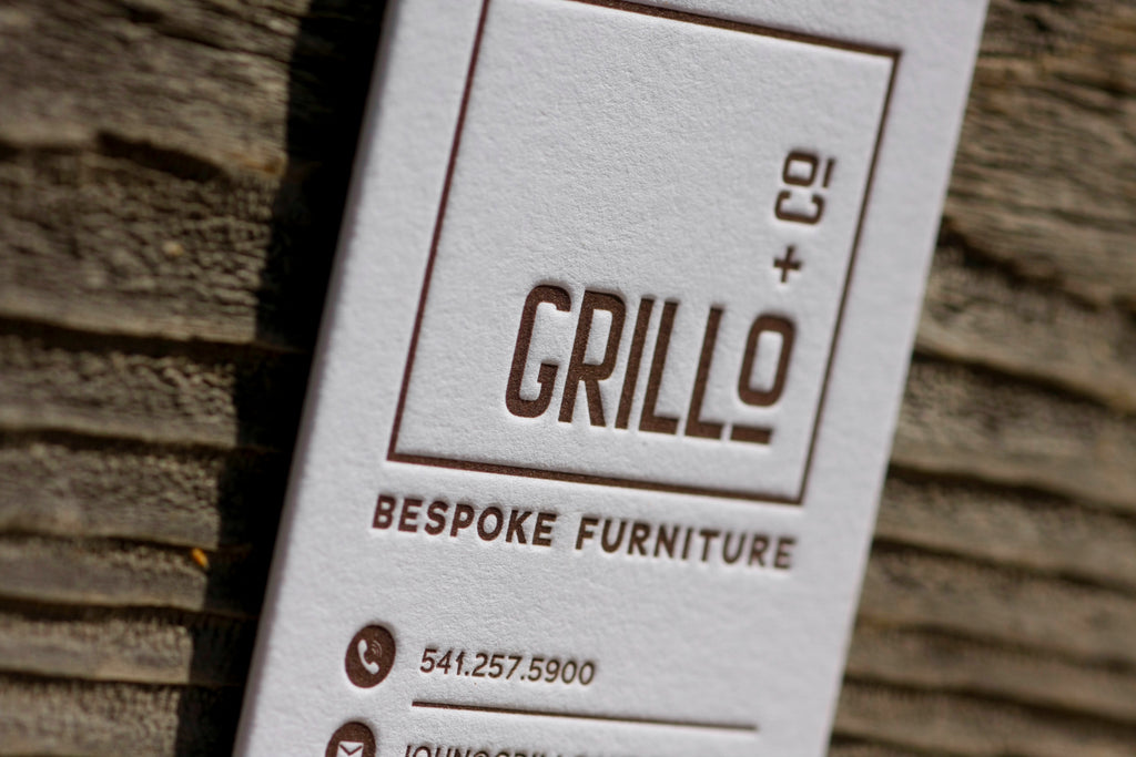 New work - Letterpress Business Cards for a Bespoke Furniture Maker