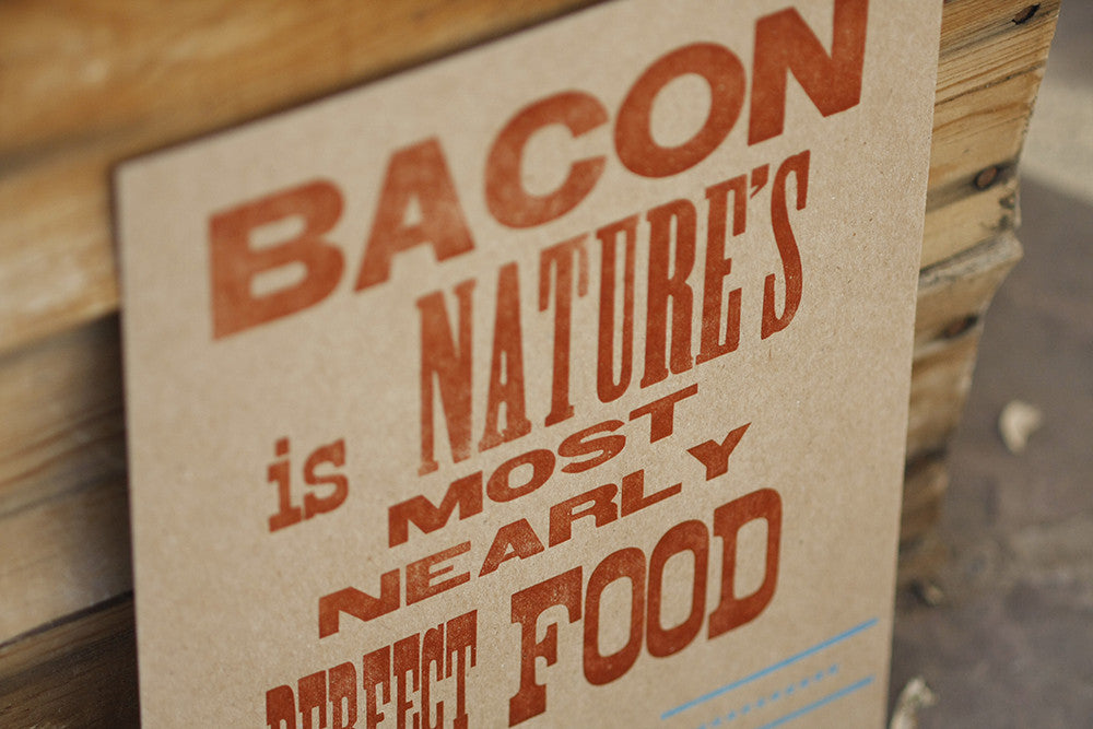 Letterpress Bacon Print Using Hand-set Wood and Lead Type