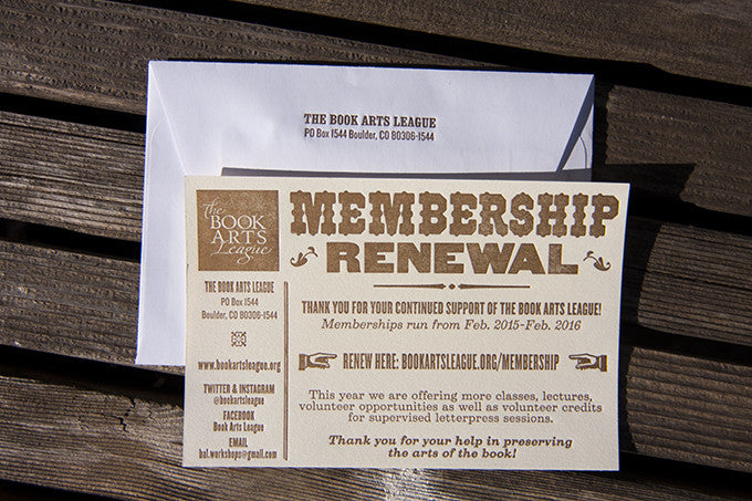 Letterpress Membership Cards and Envelopes