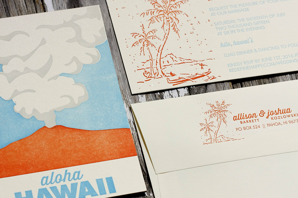 Hawaii Themed Letterpress Wedding Invitation Suite – Dogs & Stars