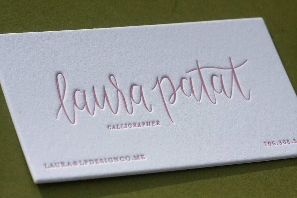Letterpress business cards for a calligrapher